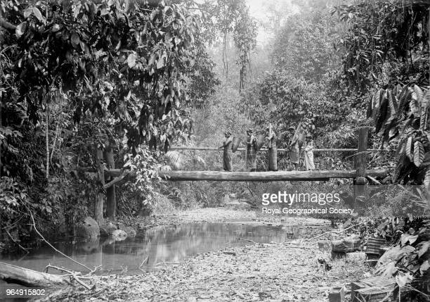 Karens crossing bridge' This image was taken circa 189099 Myanmar 1890