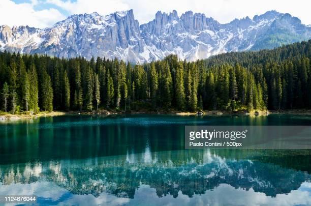 karersee lake - spring version - alto adige foto e immagini stock