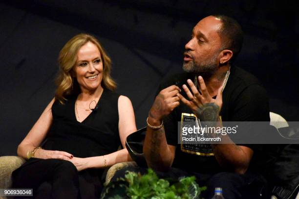 Karey Burke and Kenya Barris speak on stage at Freeform Summit on January 18 2018 in Hollywood California