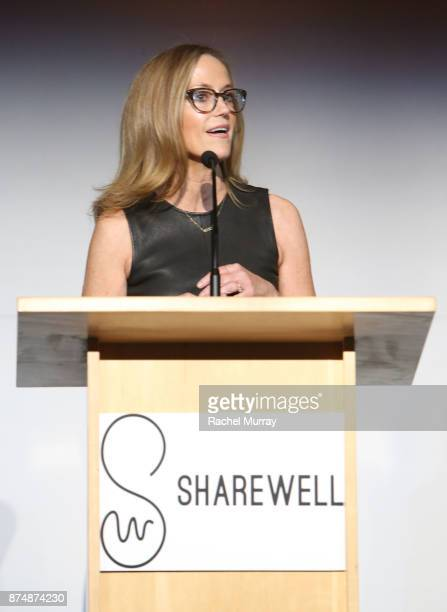 Karey Burke speaks onstage during the Sharewell/Zimmer Children's Museum Discovery Award Dinner at Skirball Cultural Center on November 15 2017 in...