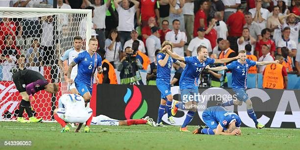 Kari Arnason celebration during the UEFA EURO 2016 round of 16 match between England and Iceland at Allianz Riviera Stadium on June 27 2016 in Nice...