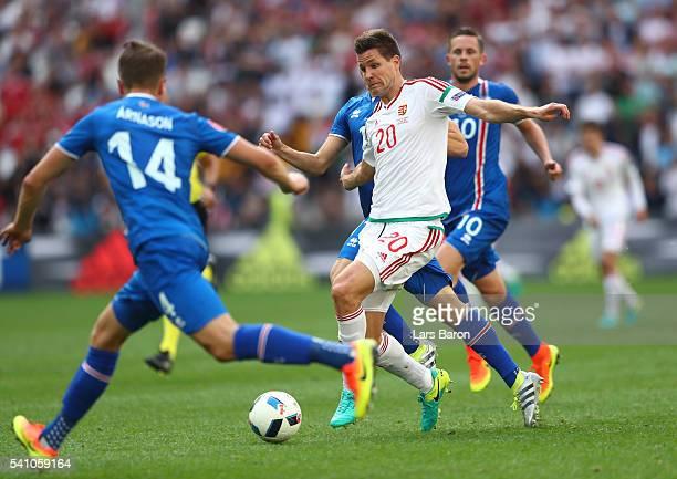 Kari Arnason of Iceland closes down Richard Guzmics of Hungary during the UEFA EURO 2016 Group F match between Iceland and Hungary at Stade Velodrome...