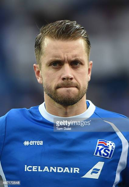 Kari Arnason of Iceland looks on during the UEFA EURO 2016 Qualifier match between Iceland and Latvia at Laugardalsvollur National Stadium on October...