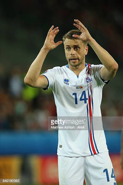 Kari Arnason of Iceland reacts during the UEFA EURO 2016 Group F match between Portugal and Iceland at Stade GeoffroyGuichard on June 14 2016 in...