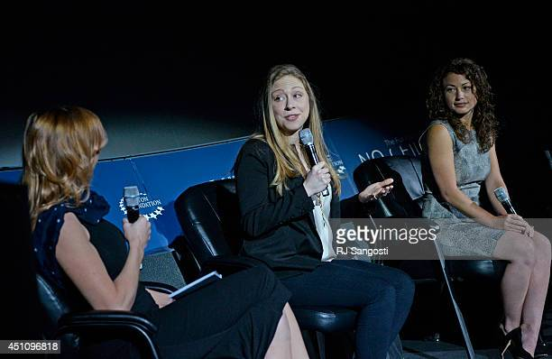 Kari Byron CoHost of Discovery Channels Mythbusters left Chelsea Clinton center and Debbie Sterling founder and CEO of GoldieBlox host From STEM to...