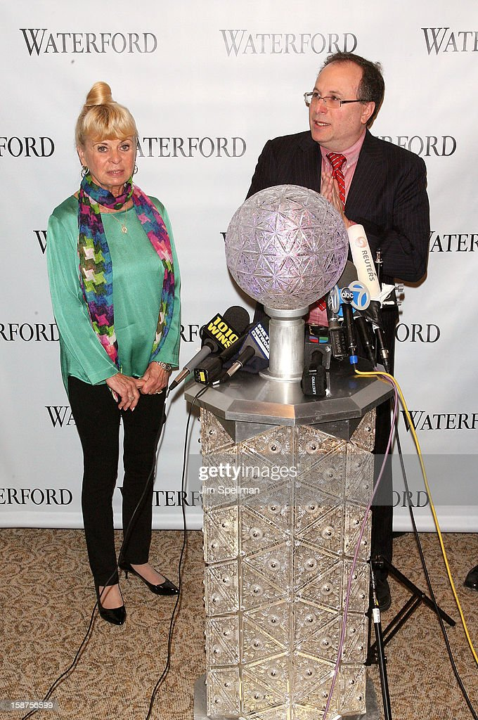 Kari Clark and Jeffrey Straus attend the installation of 288 New Waterford Crystals on the 2013 Times Square New Year's Eve Ball at One Times Square on December 27, 2012 in New York City.