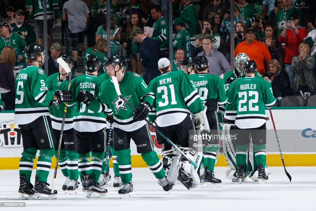Kari Lehtonen #32 and the Dallas Stars celebrate a win against the San Jose Sharks at the American Airlines Center on March 20, 2017 in Dallas, Texas.