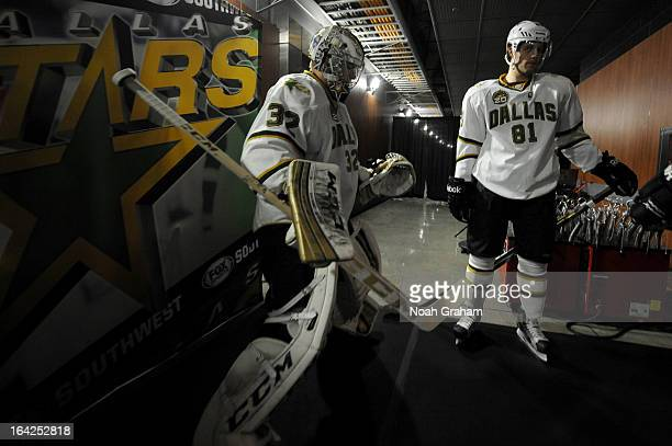 Kari Lehtonen and Tomas Vincour of the Dallas Stars prepare to take the ice to warm up prior to the game against the Los Angeles Kings at Staples...