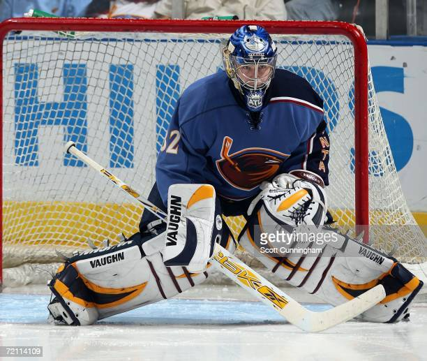 Kari Lehtonen of the Atlanta Thrashers gets in position to make a save against the Florida Panthers on October 7 2006 at Philips Arena in Atlanta...