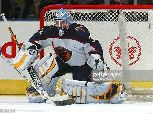 Kari Lehtonen of the Atlanta Thrashers makes a save against the Toronto Maple Leafs during their NHL game on February 7 2006 at the Air Canada Centre...