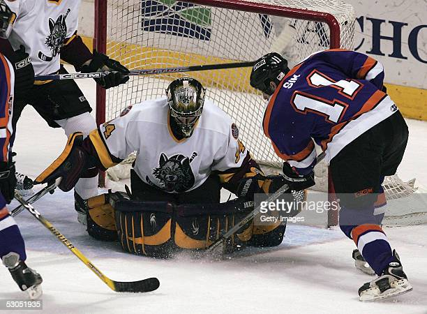 Kari Lehtonen of the Chicago Wolves makes the save on Jon Sim of the Philadelphia Phantoms during second period action The Phantoms defeated the...