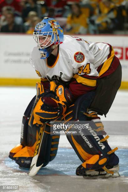 Kari Lehtonen of the Chicago Wolves readies for the play against the Hamilton Bulldogs during the American Hockey League game at Copps Coliseum on...