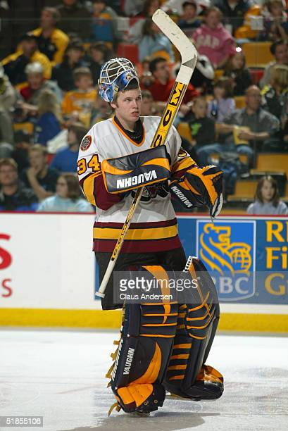 Kari Lehtonen of the Chicago Wolves skates with his mask flipped up on his head during the American Hockey League game against the Hamilton Bulldogs...