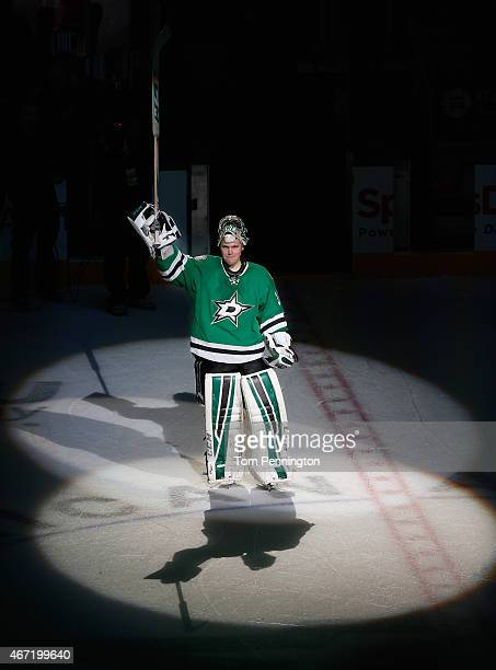 Kari Lehtonen of the Dallas Stars celebrates after the Stars shut out the Chicago Blackhawks 40 at American Airlines Center on March 21 2015 in...