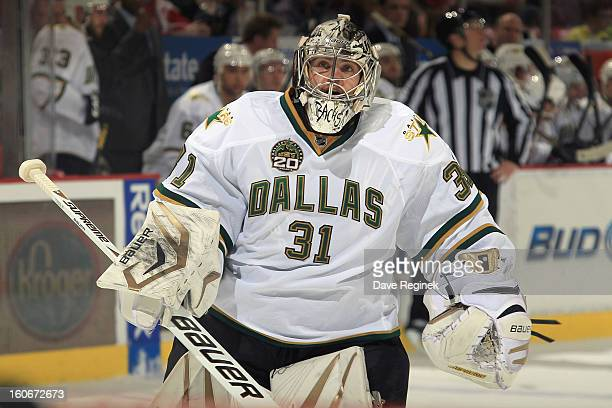Kari Lehtonen of the Dallas Stars gets pulled from the game and backup goalie Richard Bachman comes off the bench during an NHL game against the...
