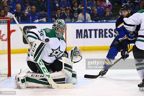 Kari Lehtonen of the Dallas Stars makes a save against the St Louis Blues in Game Six of the Western Conference Second Round during the 2016 NHL...