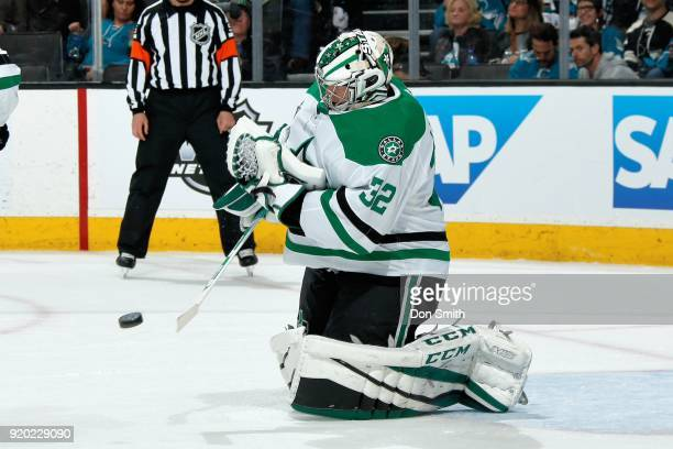 Kari Lehtonen of the Dallas Stars makes a save during a NHL game against the San Jose Sharks at SAP Center on February 18 2018 in San Jose California