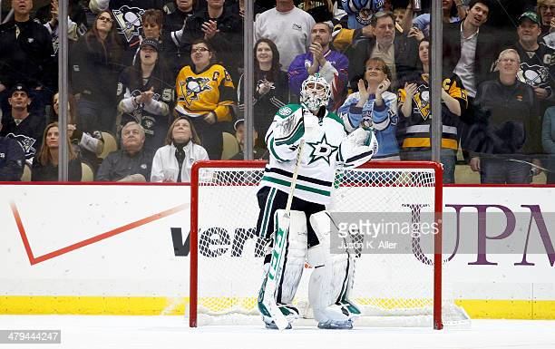 Kari Lehtonen of the Dallas Stars reacts after giving up a goal to Brandon Sutter of the Pittsburgh Penguins during the game at Consol Energy Center...