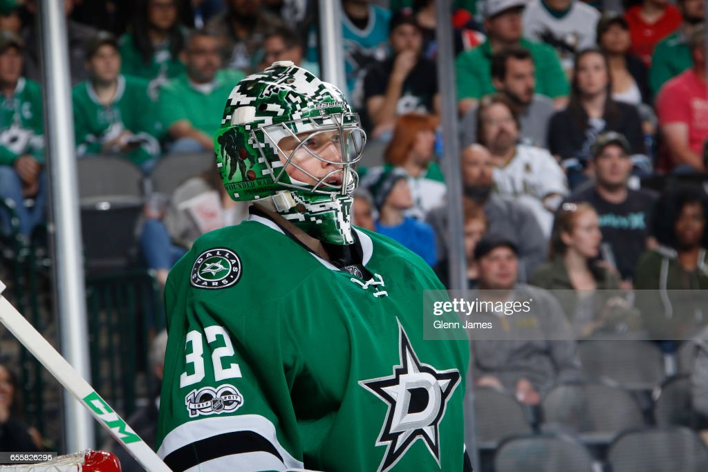 Kari Lehtonen #32 of the Dallas Stars tends goal against the San Jose Sharks at the American Airlines Center on March 20, 2017 in Dallas, Texas.