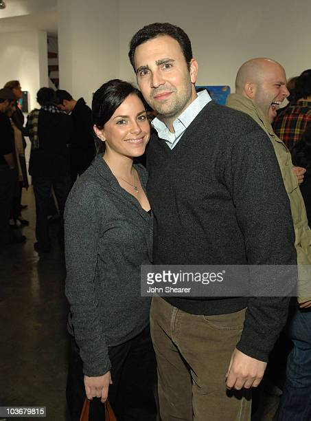 Kari Odonnell and David Katz attend the Hunting And Gaming Art Show By Vanessa Prager And Kathy Grayson at the Robert Berman Gallery on January 24...