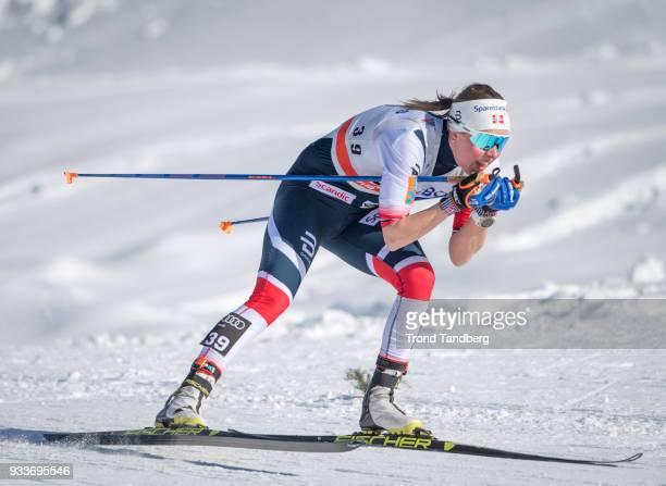 Kari Slind of Norway during Ladies 10.0 km Pursuit Free at Lugnet Stadium on March 18, 2018 in Falun, Sweden.