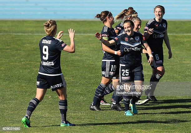 Kariah White of the Victory celebrates after scoring a goal during the round six WLeague match between Melbourne Victory and Western Sydney Wanderers...