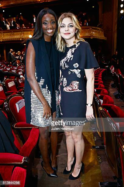 Karidaj Toure and Louane Emera attend The Cesar Film Award 2016 at Theatre du Chatelet on February 26, 2016 in Paris, France.