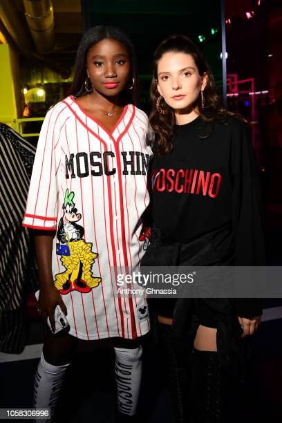 Karidja Toure and Josephine Japy attend MOSCHINO [tv] HM Launch Party at Le Dernier Etage on November 6 2018 in Paris France