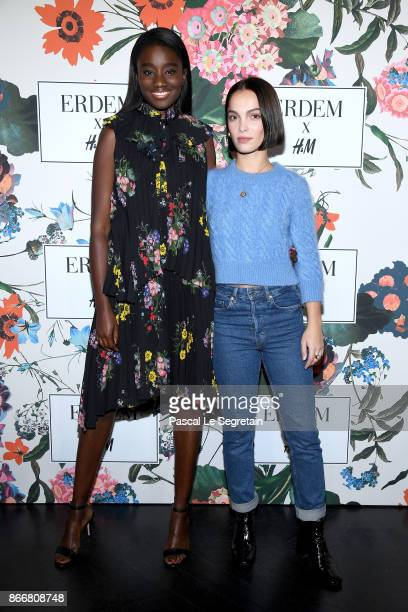 Karidja Toure and Lola Le Lann attend ERDEM X HM Paris Collection Launch at Hotel du Duc on October 26 2017 in Paris France