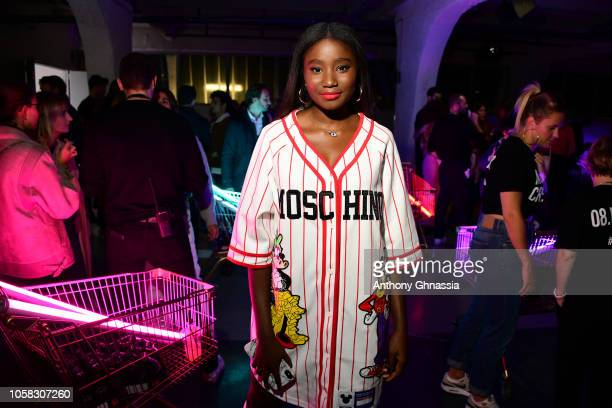 Karidja Toure attends MOSCHINO [tv] HM Launch Party at Le Dernier Etage on November 6 2018 in Paris France