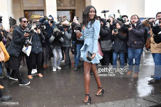 Karidja Toure is seen arriving at Elie Saab during Paris Fashion Week Haute Couture Spring Summer 2020 on January 23 2019 in Paris France