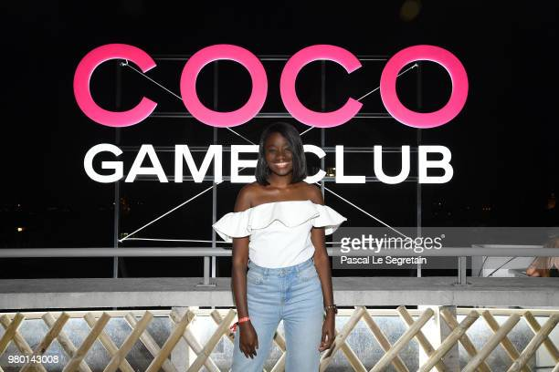 Karidja Tourne attends Chanel's Coco Game Club event Photocall at Galeries Lafayette Haussmann on June 20 2018 in Paris France