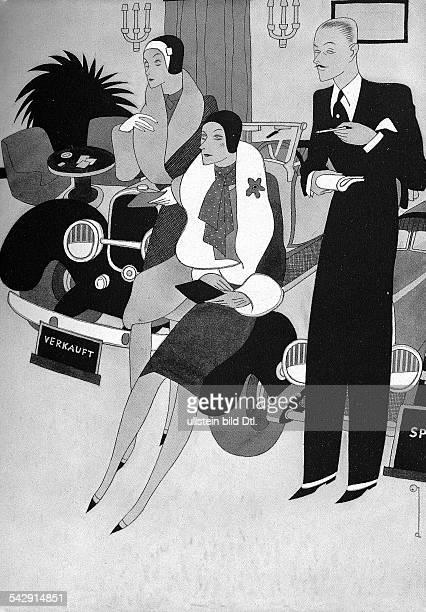 Karikatur Der verweiblichte Mannerschienen in 'Die Dame' Dezember 1928 / Heft 6 Vorlage beim Textarchiv Berlin