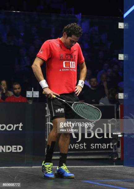 Karim Abdel Gawad of Egypt looks dejected during his defeat to Marwan ElShorbagy of Egypt in the Quarter Final match of the AJ Bell PSA World Squash...