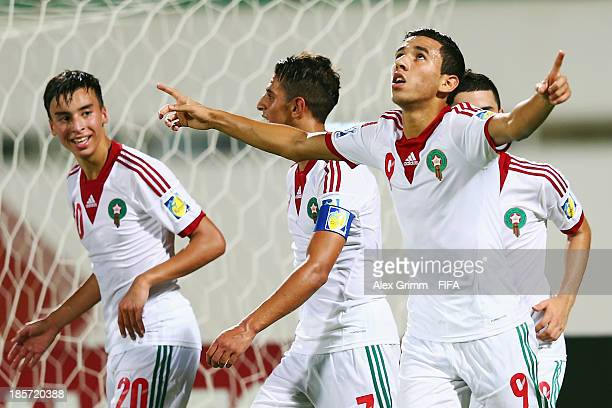 Karim Achahbar of Morocco celebrates his team's fourth goal during the FIFA U17 World Cup UAE 2013 Group C match between Morocco and Panama at...