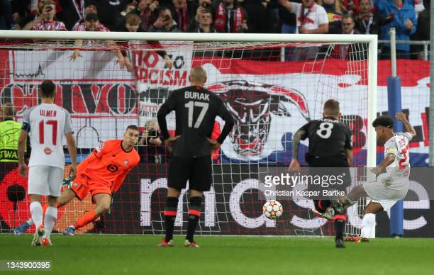 Karim Adeyemi of FC Red Bull Salzburg scores his sides second goal during the UEFA Champions League group G match between FC Red Bull Salzburg and...