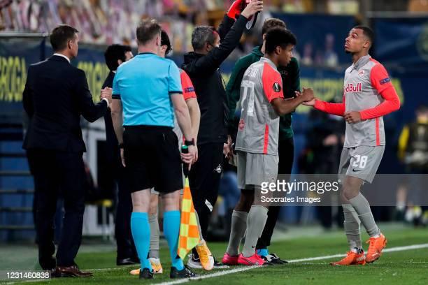 Karim Adeyemi of FC Salzburg, Antoine Bernede of FC Salzburg during the UEFA Europa League match between Villarreal v Salzburg at the Estadio de la...