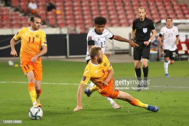 Karim Adeyemi of Germany scores their team's sixth goal during the 2022 FIFA World Cup Qualifier match between Germany and Armenia at Mercedes Benz...