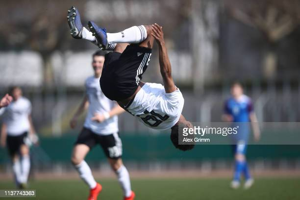 Karim Adeyemi of Germany U17 celebrates his team's first goal during the UEFA Elite Round match between Germany U17 and Iceland U17 at EWR Arena on...