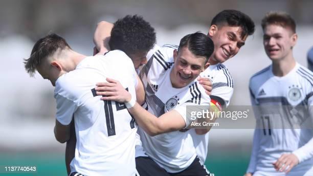 Karim Adeyemi of Germany U17 celebrates his team's first goal with team mates during the UEFA Elite Round match between Germany U17 and Iceland U17...