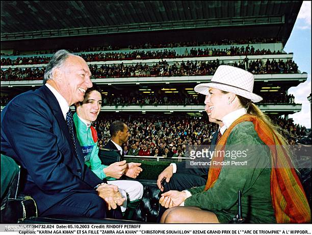 Karim Aga Khan and daughter Zahra Aga Khan Christophe Soumillon 82nd Grand Prix of the Arc De Triomphe at the racecourse of Longchamp Princess