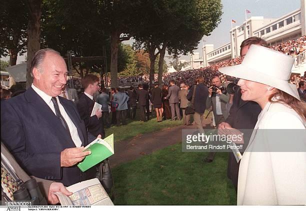 Karim Aga Khan and Princess Zara Aga Khan at The Prix De L' Arc DeTriomphe In Longchamp 1997