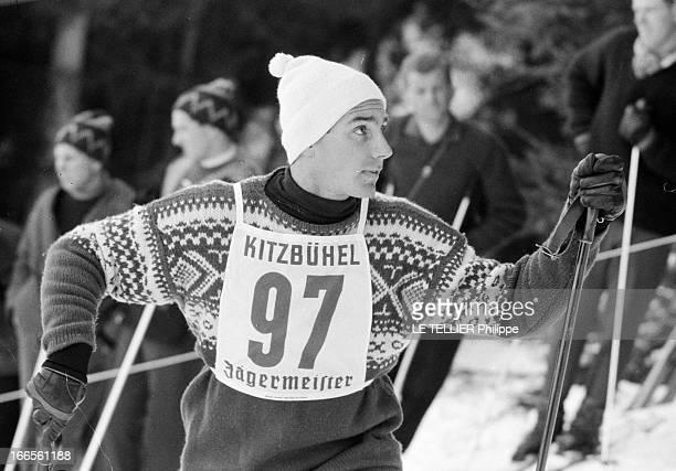 Karim Aga Khan Skying In Austria Kitzbühel 22 janvier 1962 Lors d'une compétition de ski dans la station de sports d'hiver du Tyrol autrichien...