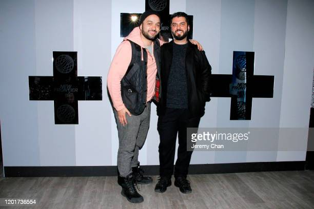 """Karim Amer and Guvenc Ozel of """"Persuasion Machines"""" attend the New Frontier Press Preview during the 2020 Sundance Film Festival at New Frontier..."""