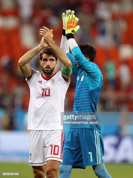 Karim Ansarifard and Alireza Beiranvand of Iran gestures during the 2018 FIFA World Cup Russia group B match between Iran and Portugal at Mordovia...