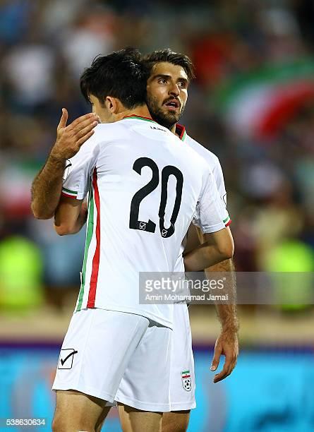 Karim Ansarifard celebrates during the international friendly match between Iran and Kyrgyzstan on June 7 2016 in Tehran Iran
