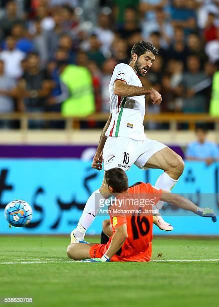 Karim Ansarifard in action during the international friendly match between Iran and Kyrgyzstan on June 7 2016 in Tehran Iran