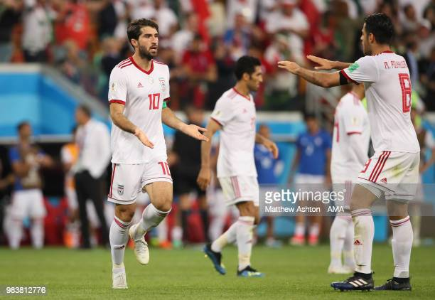 Karim Ansarifard of IR Iran celebrates scoring a goal to make it 1-1 during the 2018 FIFA World Cup Russia group B match between Iran and Portugal at...