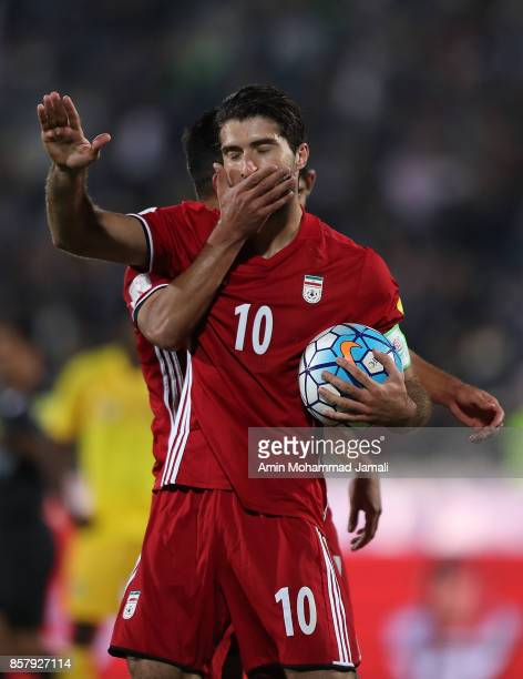 Karim Ansarifard of Iran celebrates after first goal during the international friendly match between Iran and Togo at Azadi Stadium on October 5 2017...