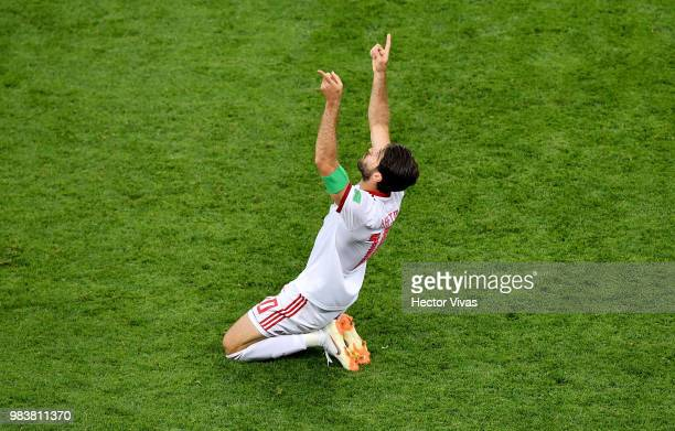 Karim Ansarifard of Iran celebrates after scoring his team's first goal during the 2018 FIFA World Cup Russia group B match between Iran and Portugal...